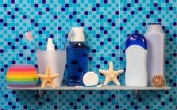 Hygiene items on shelf Royalty Free Stock Image