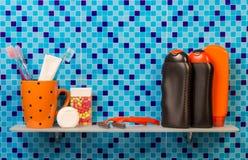Hygiene items on shelf Royalty Free Stock Photo