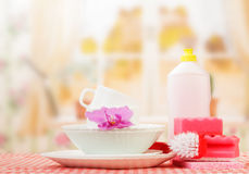 Hygiene kitchen cleanser. And empty dishware, background Stock Photography