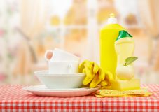 Hygiene kitchen cleanser. And empty dishware close up Stock Photo