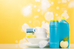 Hygiene kitchen cleanser. With sponges and empty dishware Stock Photo