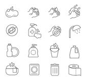 Hygiene Line Icons. Cleaning And Clean Vector Silhouette Signs For Bathroom Toilet Stock Photo