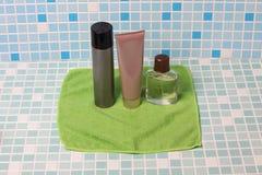 Hygiene means on tile one Stock Photos
