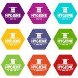 Hygiene morning icons set 9. Hygiene morning icons 9 set coloful isolated on white for web vector illustration