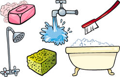 Hygiene objects cartoon illustration set Royalty Free Stock Photo