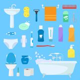Hygiene personal care vector toiletries set of hygienic bath products and bathroom accessories soap shampoo or shower. Gel for bodycare icons illustration on stock illustration