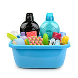 Hygiene products and detergents in basin Royalty Free Stock Image