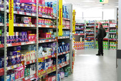 Hygiene products. GERMANY - FEBRUARY 2015: Aisle with a variety feminine hygiene products in a Kaufland supermarket Stock Photography
