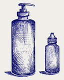 Hygiene products in plastic bottles Stock Images