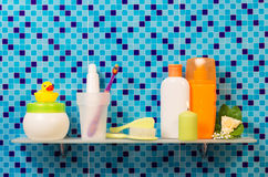 Hygiene products on the shelf Royalty Free Stock Photography