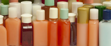 Hygiene Products in Small Bottles Stock Photos