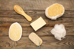 Hygiene products: soap,comb, sponge, pumice stone Stock Images