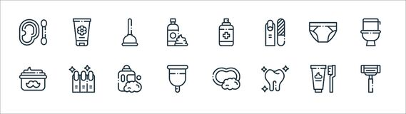 Free Hygiene Routine Line Icons. Linear Set. Quality Vector Line Set Such As Shaving Razor, Tooth, Menstrual Cup, Moustache Cream, Stock Images - 192571524