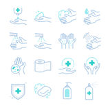Hygiene and sanitation icons set Royalty Free Stock Image