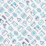 Hygiene seamless pattern. With thin line icons: hand soap, shower, bathtub, toothpaste, razor, shaving brush, sanitary napkin, comb, ball deodorant, mouth rinse vector illustration