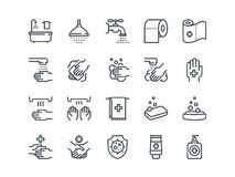 Hygiene. Set of outline vector icons. On a white background Royalty Free Stock Images