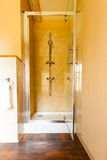 Hygiene. Shower stall unit. Interior of bathroom. Royalty Free Stock Photo