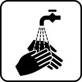 Hygiene. Simplified sign for hygiene and hand disinfection Royalty Free Stock Image