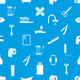 Hygiene theme icons modern simple blue and white seamless pattern eps10 Royalty Free Stock Image
