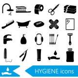 Hygiene theme modern simple black icons set eps10 Stock Photos