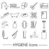 Hygiene theme modern simple black outline icons set eps10 Stock Images