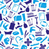 Hygiene theme modern simple blue icons seamless pattern eps10 Royalty Free Stock Images
