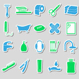 Hygiene theme modern simple color stickers icons set eps10 Royalty Free Stock Photos