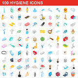100 Hygieneikonen eingestellt, isometrische Art 3d Stockfotos