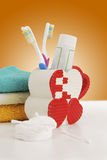 Hygienic accessories. On a color background stock photo