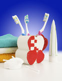 Hygienic accessories. On a color background royalty free stock photo