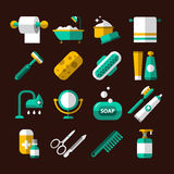 Hygienic and Bathroom Icons Set Royalty Free Stock Image