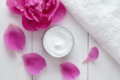 Hygienic herbal cosmetic cream vitamin spa lotion natural organic moisturizer Royalty Free Stock Image