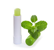 Hygienic lipstick with mint leaves. Isolate on white background royalty free stock image