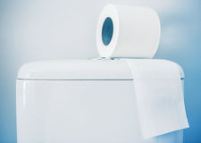 Hygienic paper on white toilet tank. Closeup stock images