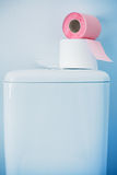 Hygienic paper on white toilet tank. Closeup royalty free stock images