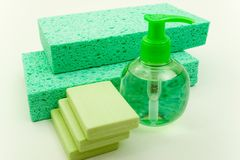 Hygienic Supplies. Beauty Set of Hard and Soft Soap and Washing Pads Stock Image