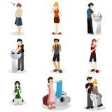 Hygieniskt folk stock illustrationer