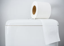 Hygieniskt papper på den vita toalettbehållaren royaltyfria bilder