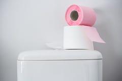 Hygieniskt papper på den vita toalettbehållaren arkivbild
