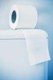 Hygieniskt papper på den vita toalettbehållaren arkivfoto