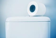 Hygieniskt papper på den vita toalettbehållaren royaltyfri foto