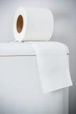Hygieniskt papper på den vita toalettbehållaren royaltyfri bild
