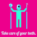 Hygienist with dental tools on the pink background Stock Images