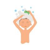 Hygiène personnelle de matin et procédure de lavage de mains garçon d'hygiène Photos libres de droits
