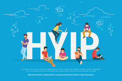 HYIP concept illustration. HYIP concept vector illustration of young people using laptop and smartphone for online funding new startup or making investments for Stock Photo