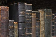 Hylla av biblar arkivbilder