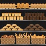 Hylla med bröd i supermarket Royaltyfri Illustrationer