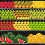 Hylla med frukter i supermarket vektor illustrationer