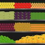 Hylla med grönsaker i supermarket stock illustrationer