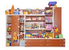 Hylla med leksaker Royaltyfri Fotografi